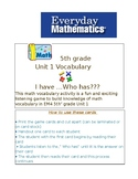 Everyday Math 5th grade Unit 1 I Have Who Has...