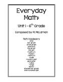 Everyday Math 6th Grade Vocabulary - Unit 1