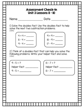 Everyday Math Assessment Check In Unit Three for 2nd Grade