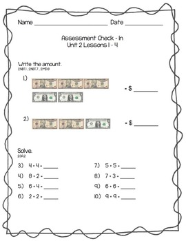 Everyday Math Assessment Check In Unit Two for 2nd Grade