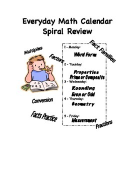 Everyday Math Calendar Spiral Review for Upper Elementary 3-5
