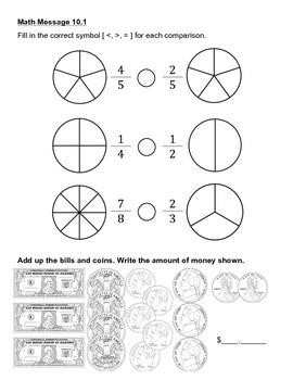 Everyday Math Chapter 10 Math Messages (2nd grade)