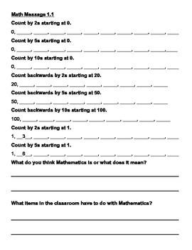 Everyday Math Chapter 1 Math Messages (2nd grade)