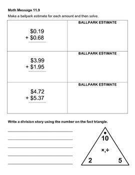 Everyday Math Chapter 11 Math Messages (2nd grade)