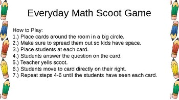 Everyday Math Chapter 4 Review Scoot Game
