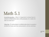 Everyday Math Chapter 5 Lesson 1 Multiplication (4th Grade)