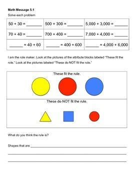 Everyday Math Chapter 5 Math Messages (2nd grade)