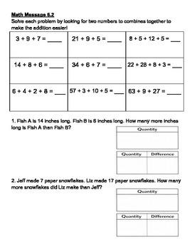 Everyday Math Chapter 6 Math Messages (2nd grade)