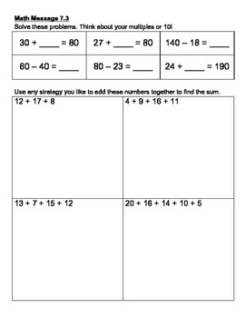 Everyday Math Chapter 6 Math Messages (2nd grade)