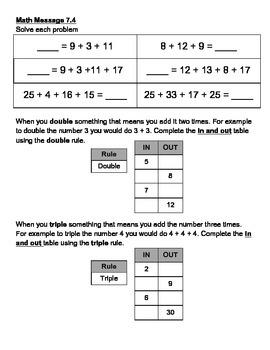 Everyday Math Chapter 7 Math Messages (2nd grade)