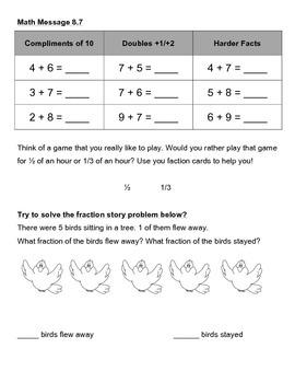Everyday Math Chapter 8 Math Messages (2nd grade)