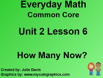 Everyday Math 4 EDM4 Common Core Edition Kindergarten 2.6 How Many Now?