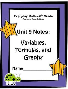Everyday Math Common Core Grade 6: Unit 9 Cloze Notes, Answer Key, Study Guide