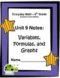 Everyday Math Common Core Grade 6: Unit 9 Cloze Notes, Ans