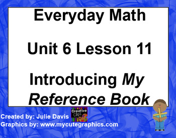Everyday Math EDM 1st Grade 6.11 Introducing My Reference Book
