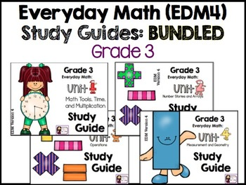 Math Study Guide, Grade 3, Unit 1-4 BUNDLED - EDM4