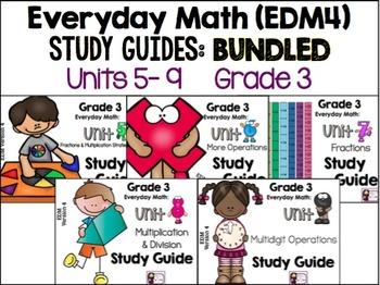 Everyday Math - EDM 4 - Study Guides, Grade 3, Units 5-9 BUNDLED
