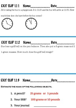 Everyday Math Exit Slips 3rd garde Unit 1 lessons 1.3-1.13