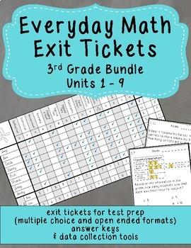 Everyday Math Exit Tickets: Grade 3 Units 1-9 Bundle