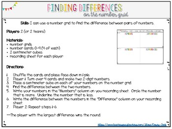 Everyday Math Find the Difference on a Number Grid Game Number Grid Math Center