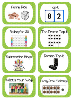 Everyday Math First Grade Game Labels