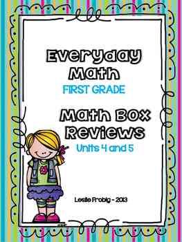 Everyday Math: First Grade Math Box Reviews (Units 4 and 5)