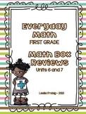 Everyday Math: First Grade Math Box Reviews (Units 6 and 7)