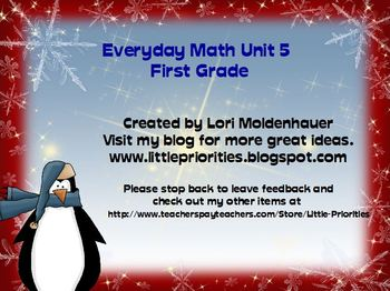 Everyday Math First Grade Unit 5 Flipchart for the Promethean Board