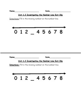 Everyday Math First Grade Units 1 & 2 Exit Slips