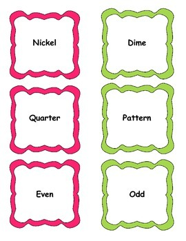 Everyday Math First Grade Vocabulary Word Wall Cards