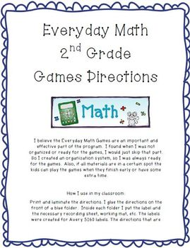 Everyday Math Game Directions 2nd Grade By Ashley Lackey Tpt