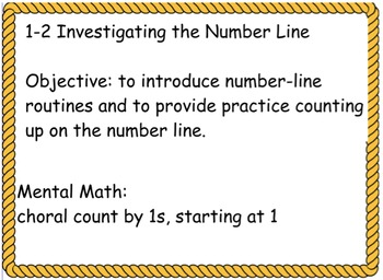 Everyday Math: Grade 1: 1-2 Investigating the Number Line