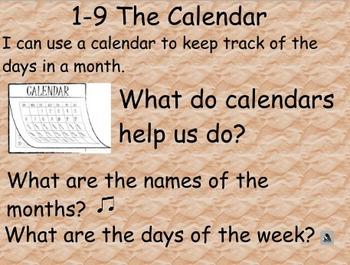 Everyday Math: Grade 1: 1-9 The Calendar