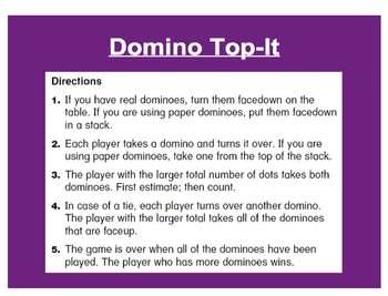 Everyday Math, Grade 1 – Domino Top-It