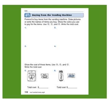 Everyday Math, Grade 1 – Lesson 10.3: Mental Arithmetic: Using a Vending Machine