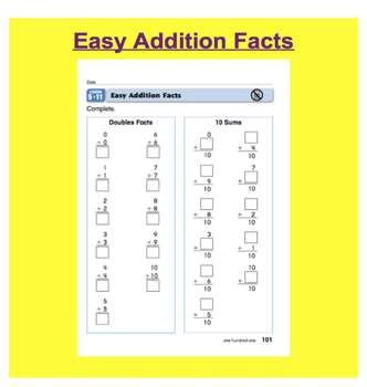 Everyday Math, Grade 1 – Lesson 5.11: Easy Facts