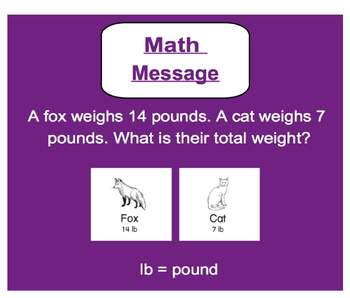 Everyday Math, Grade 1 – Lesson 5.5: Animal Weights