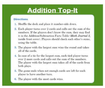 Everyday Math, Grade 1 – Lesson 6.1: Addition, Subtraction Facts Table