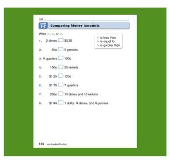 Everyday Math, Grade 1 – Lesson 8.2: Dollars