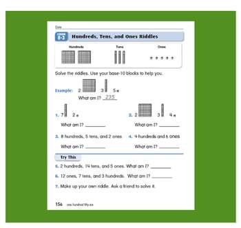 Everyday Math, Grade 1 – Lesson 8.3: Place Value - Hundreds, Tens and Ones