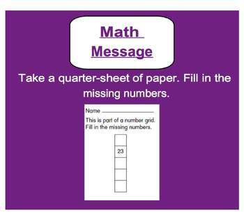 Everyday Math, Grade 1 – Lesson 9.3: Number-Grid Puzzles