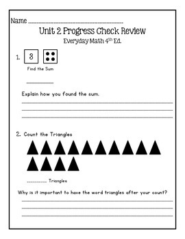 Everyday Math Grade 1 Unit 1 & 2 Review