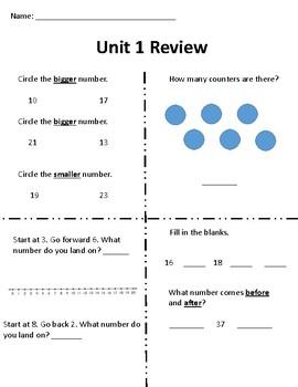 Everyday Math Grade 1 Unit 1 Review