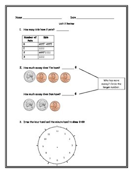 Everyday Math Grade 1 Unit 2 Review