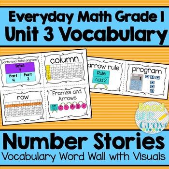 Everyday Math: Grade 1-Unit 3 {Vocabulary Word Wall}