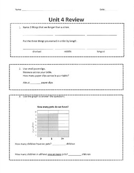 Everyday Math Grade 1 Unit 4 Review (version 2)