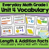 Everyday Math: Grade 1-Unit 4 {Vocabulary Word Wall}