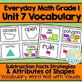 Everyday Math: Grade 1-Unit 7 {Vocabulary Word Wall}