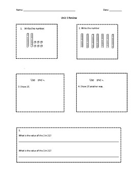 Everyday Math Grade 1 Unit 5 Review (version 2)