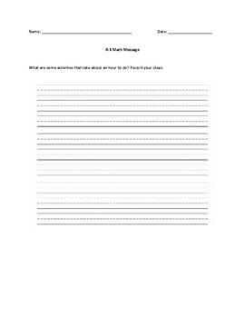Everyday Math Grade 1 Unit 6 Math Messages